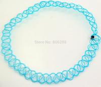 free blue Tattoo Choker Stretch Necklace Retro  Elastic Boho 90s 80s new hot