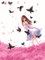 Butterfly fly Painting Frameless Diy digital oil painting  40*50 acrylic painting paint by number