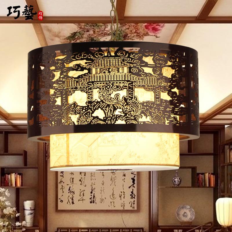 Chinese classical wooden fish big splash chandelier lamp living room lamp Riverside Restaurant restaurant lights sheepskin(China (Mainland))