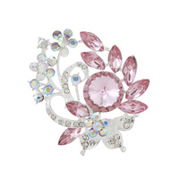 contracted Fashion alloy silver inlaid glass rhinestone flowers brooches women personality T-1