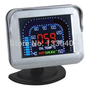 Transporte metros livre display LCD de 2,5 polegadas , squal OIL TEMP preto calibre auto modificado metros carro styling tacômetro(China (Mainland))