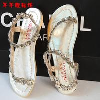 Xia Jiping heel sandals 2014 fashion casual Korean version of the princess clip bared flat shoes string