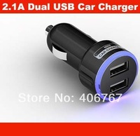 Wholesale Free Shipping Light Color Ring 2A Dual USB Mini Car Charger For iPhone iPad 200PCS/lot