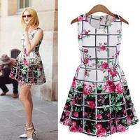 Vestido Women Dress Women's None Dress European And American Temperament Slim Sleeveless Plaid Chiffon Hot Sale New 2014 Summer