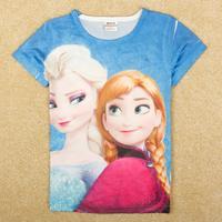 Free shipping Frozen Elsa&Anna girls t shirts.nova kids summer top carton cotton clothing.