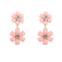 New Designer Charms Luxury Double Cute Flower Stud Earrings ZC5P5C Free Shipping