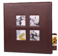 Free shipping Large A4 Leather DIY loose leaf photo album scrapbook paper craft gift for baby wedding family photo frame
