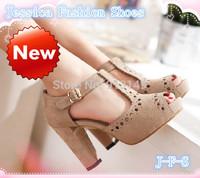 2014 NEW  fashion women summer platform Roman buckle strap chunky nubuck leather sandals plug size 41 42 free shipping