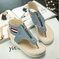 New sandals beach drag punk denim thong sandals shoes thick crust muffin KZ268