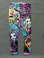 2014  Clothes Kids Girl's Cartoon Monster High Fashion Leggings Skinny Full Length Pants Free Shipping