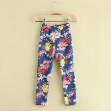 5pcs/lot 2014 invierno nueva llegada niñas leggings florales impresos polar caliente niños bootcut 5 colores 049(China (Mainland))
