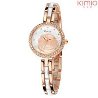 Brand Kimio Quartz Watch Alloy Crystal Rhinestone Rose Dial Analog Dress Watches for Ladies Women Best Gift