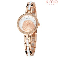 Brand Kimio Quartz Watch Alloy Crystal Rhinestone Rose Dial Analog Dress Watches for Ladies Women Best Gift