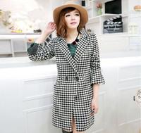 2014 hot sale free shipping  causal plaid women woolen outerwear coats