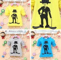 2014 autumn new arrival Children cotton top baby girl boy  t shirt kid longsleeve lovely Charlie Chaplin clothing 4pcs/lot