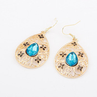 Fashion Luxury Jewelry Hollow Gold Filled Crystal Drop Earrings For Women Free Shipping DL95133