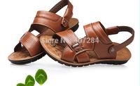 New men's leather sandals Summer new men leisure authentic cowhide breathable sandals men slippers