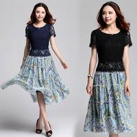 XL~4XL 2014 Summer Women Fashion Plus Size Crochet Lace Patchwork Chiffon Print Short-sleeve Bohemian Maxi Long Dress