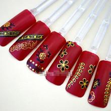 Nail art sticker 60  fingernails design per sheet  High Quality 3D Gold Nail Art Stickers Decals Decoration Hot stamping J05
