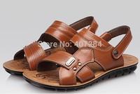 14 men's leather sandals Summer new men leisure authentic cowhide breathable sandals men slippers