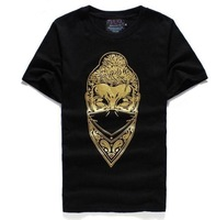Sell like hot cakes! Restoring ancient ways is masked the pictures bronzing printing men's short sleeve T-shirt. Free shipping