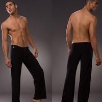 New N2N America soft silk sleep pajama bottoms men sexy yoga pants soft silk comfortable sheer nightgown mens pyjama trousers