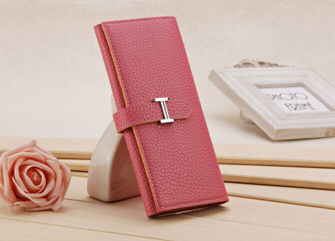 New arrival! 2014 Free Shipping Gentlewoman Wallet Fashion Ladies Wallet,Women's H plug buckle,Carteira Clutch Bags10 Colors(China (Mainland))