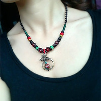 National trend necklace alloy necklace red agate necklace female short design necklace chain