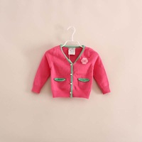baby girl sweet flower v-neck cardigan sweatercoat knitwear 4 color
