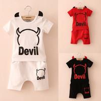 New summer , new children's baby boy Funny Little Devil + harem pants style short-sleeved suit