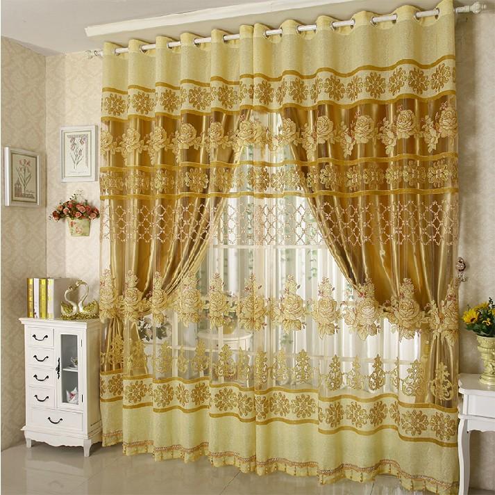 Mode kurzen double-layer-blume vorhang fenster Screening voller Schatten vorhang ready made maßgeschneiderte vorhang