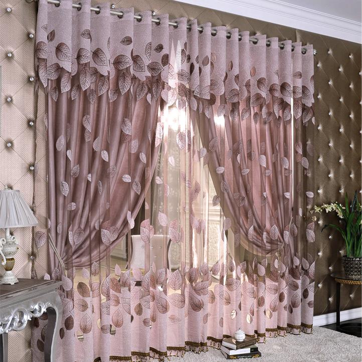 Produit fini de qualité jacquard rideau de tulle avec plein ombre. accueil rideaux
