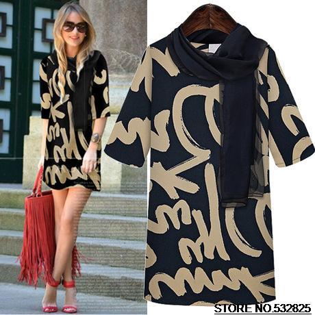A98 Spring 2014 New Half Sleeve Dresses Fashion Graffiti Printing Chiffon Dress Women Clothing Full Size With Scarf Free Shiping(China (Mainland))