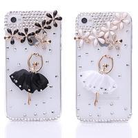 Ballet Girl Silk Dress Sakura Lucky Flowers Alloy Maple Leaves Rhinestone Protector Case for iPhone 5/5s 2X MS18