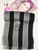 stripe knitted scarf, winter warm men unisex scarf, tassels scarves, color choice
