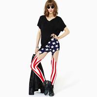Stars and Stripes Spaghetti Strap Buckle Punk American Flag High Waist High-Elastic Leggings Plus Size Galaxy Leggings