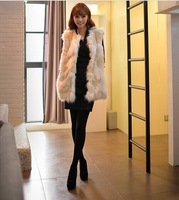 2014 Top Fasion Freeshipping  Faux Fur Female Vest Plus Size Women Fur Warm Coat  Beige Outerwear S-2XL