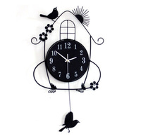crafts Big digital modern design large home decoration craft Art bird Nest living room bedroom  creative iron swing wall clock