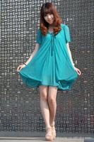 Wholesale Fashion Chiffon Short Puff Sleeve Lady Dresses Casual Women Dress Top Clothing