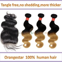 3pcs Brazilian ombre hair extension body wave two tone human hair weave with 1pcs free part lace closure bleached knot 10-26inch