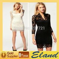 Free shipping Women sexy lace dress hip sheath pencil sleeve v-neck dresses summer 2014 dress