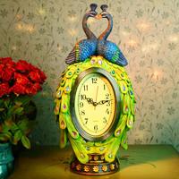 Technicolor wedding decoration vintage peacock  desktop clock  oval watch resin crafts  peacock decorative furniture