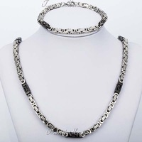 JEWELRY SET 5.5mm Mens Black Silver Tone Byzantine Box Chain Bracelet Necklace Set 316L Stainless Steel Fashion Gift KS128