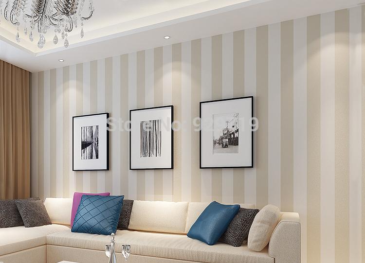 Slaapkamer Wit Beige : Online kopen Wholesale beige streep behang uit China beige streep