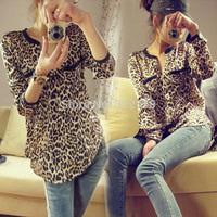 New Fashion Women Wild Leopard Print Chiffon Blouse Lady Sexy Long-sleeve Top Shirt Loose Plus Size V Neck Leopard Blouse