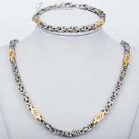 JEWELRY SET 5.5mm Mens Gold Silver Tone Byzantine Box Chain Bracelet Necklace Set 316L Stainless Steel Fashion Gift KS129