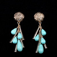 Plating Antique Gold 90 Length Turquoise Drop Earrings by Handmade for Women (Mini order is $15)