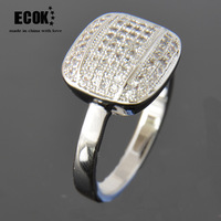 Ecok Full rhinestone big wide face  white gold ring AAA zircon  vintage jewelry jewelry women rings for women