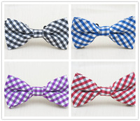(2 pcs/lot) men's BOWTie/polyester and cotton/blue and white plaid/han edition boys fashion leisure bowknot free shipping