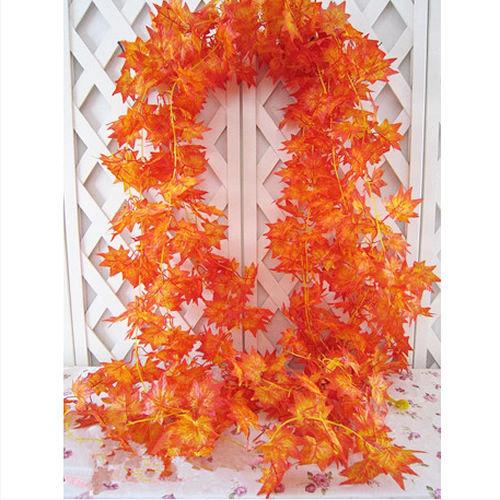 A96 Free Shipping 10x Artificial Fall Maple Leaf Garland Silk Vine Wedding Garden Decor Decoration(China (Mainland))